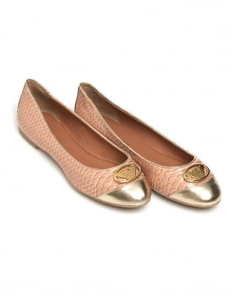 Womens Python Effect Shoes, Nude Pink Ballet Pumps