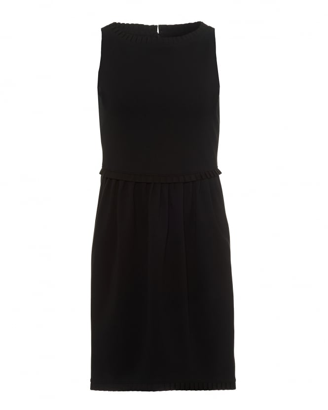 Emporio Armani Womens Shift Dress, Ruffle Detail Black Dress