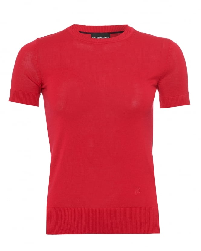 Emporio Armani Womens Short Sleeved Jumper, Virgin Wool Red Sweater