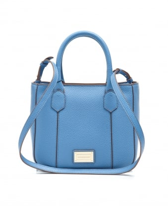 Womens Small Tote, Blue Eco Faux Leather Shopper Bag