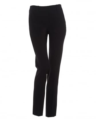 Womens Straight Leg Cropped Navy Blue Trousers