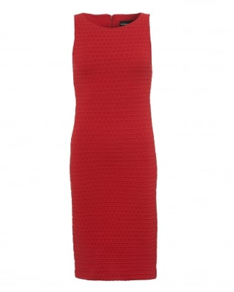 Womens Textured Jacquard Dress, Body Con Red Dress