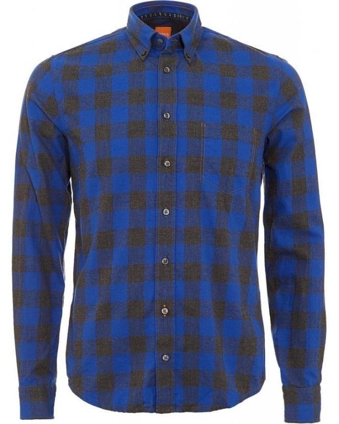 Hugo Boss Orange EsecretE Check Blue Slim Fit Shirt