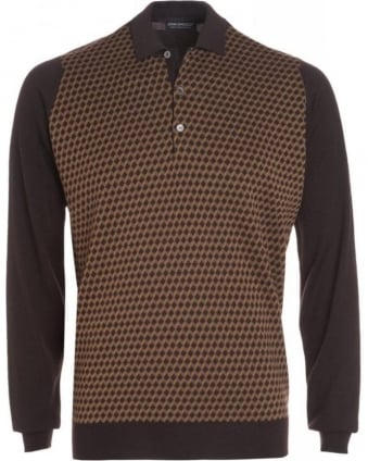 Espresso Rectangle Pattern Polo Shirt