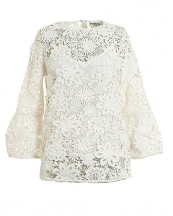 Womens Cream Pimono Large Ivory Floral Lace Top