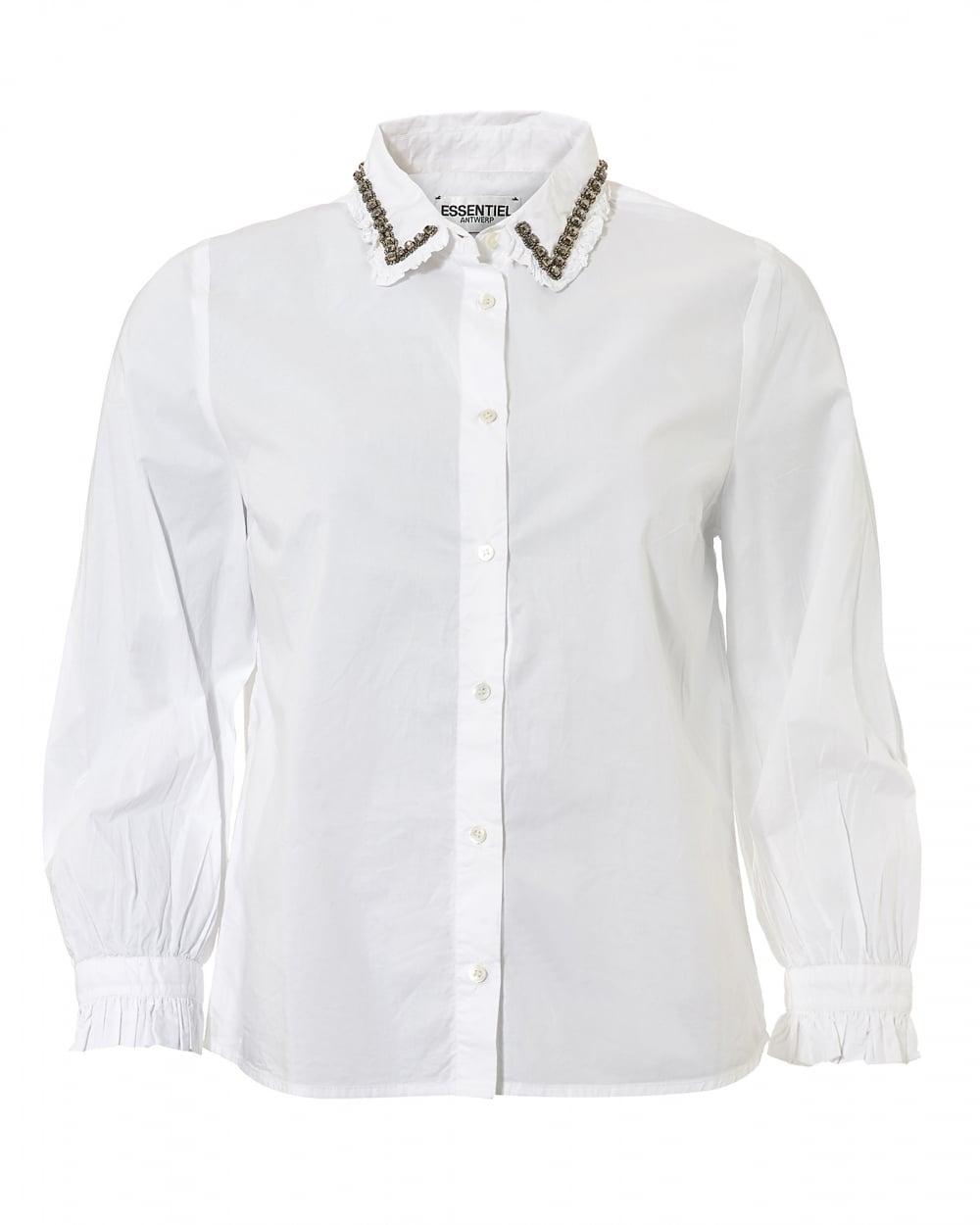 Essentiel Antwerp Womens Odakota5 Jewelled Collar Pin Tuck White Shirt