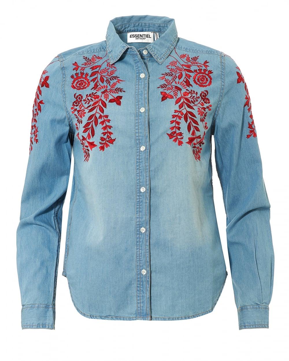 Essentiel antwerp womens odela flower embroidered denim shirt