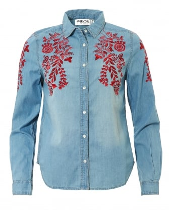 Womens Odela Flower Embroidered Denim Shirt