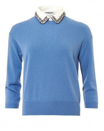 Womens Ofisho Jumper, Jewelled Collar Grey Blue Sweater