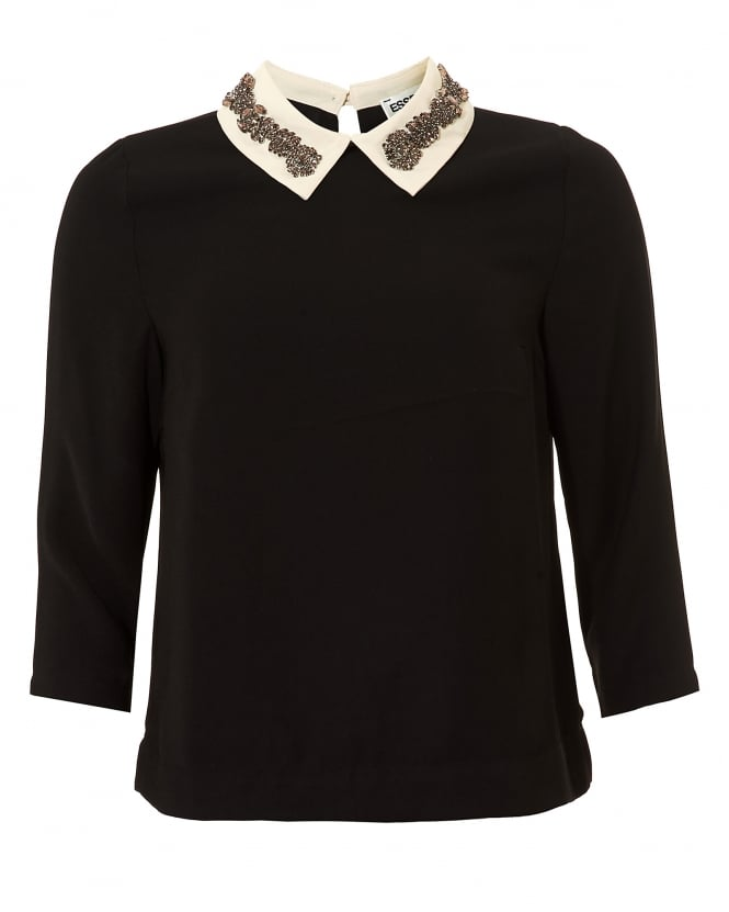 Essentiel Antwerp Womens Olma Rhinestone Collar Black Top