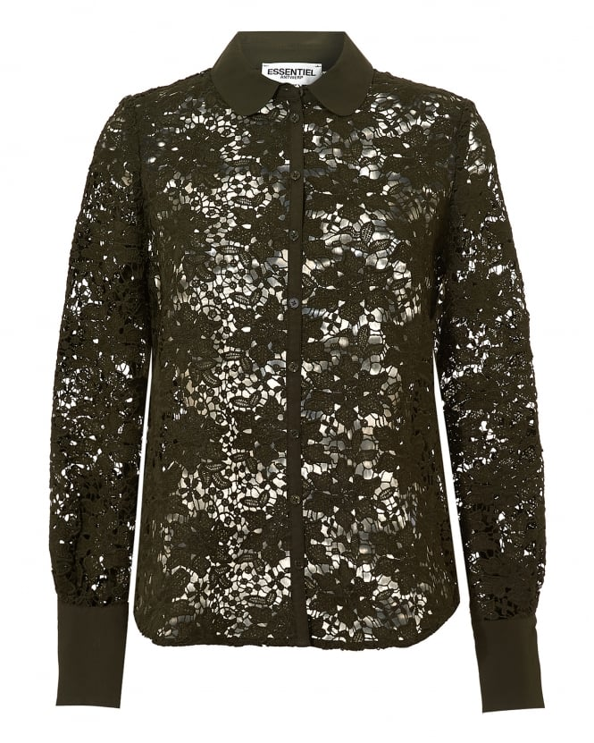 Essentiel Antwerp Womens Omasum All Over Lace Rosin Green Shirt