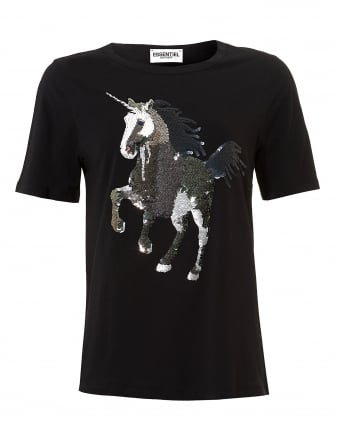 Womens Omylord T-Shirt, Sequin Unicorn Black Tee