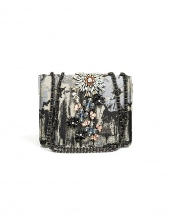 Womens Opatsy Mini Bag, Embellished Vapor Grey Evening Bag