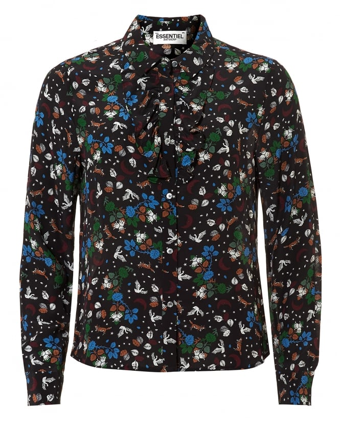 Essentiel Antwerp Womens Oquip Fox and Swan Print Black Multi Shirt