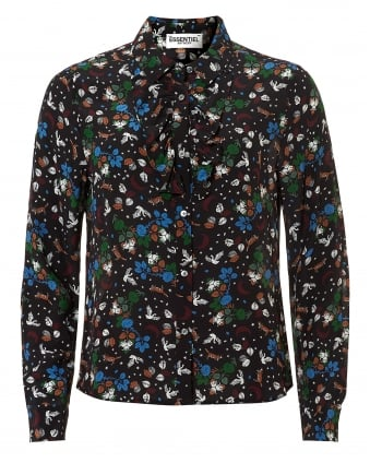 Womens Oquip Fox and Swan Print Black Multi Shirt