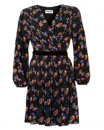Womens Orianna Floral Print Black Multi Wrap Dress