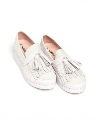 Womens Pachtou Loafers, Glitter Tassel Off White Shoes
