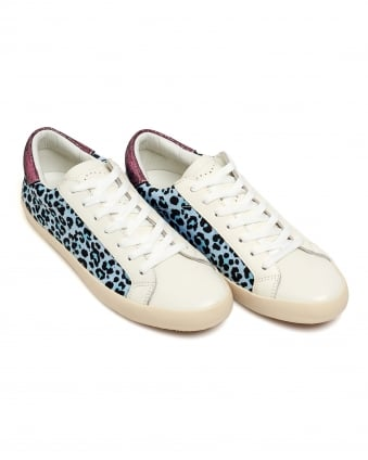 Womens Pactole Trainers, Leopard Print White Blue Sneakers
