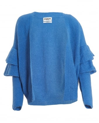 Womens Palladia Ruffle Cardigan, Blue Open Knit Cardi