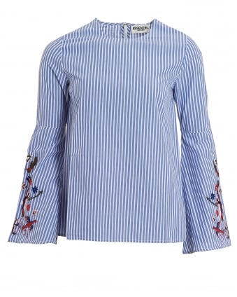 Womens Paradise Blouse, Blue Pin Stripe Embroidered Top