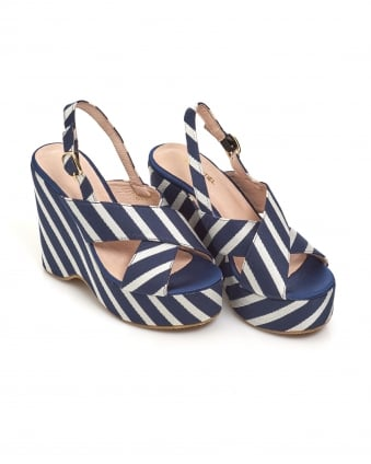 Womens Pesteban Wedges, Striped Navy White Wedged Sandals