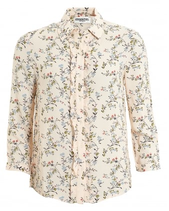 Womens Pia Blouse, 3/4 Sleeve Ruffle Pink Floral Shirt