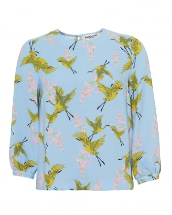 Womens Polma Top, Heron Print Blue Yellow Pink Top