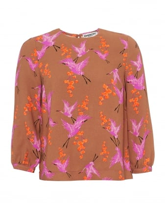 Womens Polma Top, Heron Print Caramel Orange Pink Top