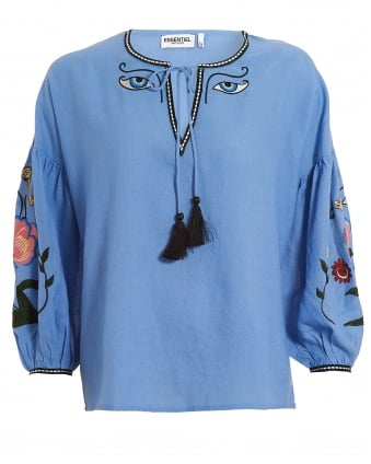 Womens Popup Blue Tassle Top, Embroidered V-Neck Tunic