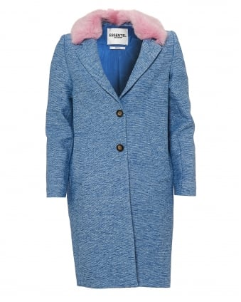 Womens Primo Coat, Detachable Pink Faux Fur Blue Jacket