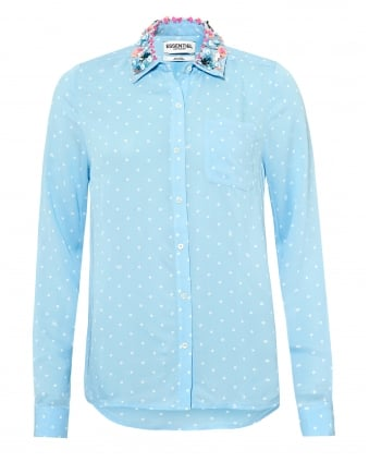 Womens Proud Shirt, Embroidered Collar Light Blue Blouse