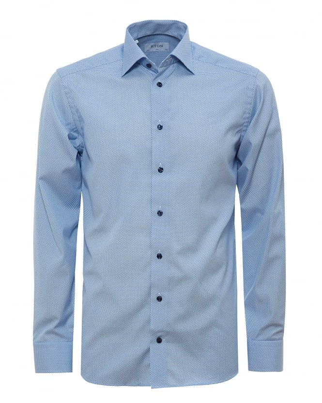 Eton Shirts Mens All Over Micro Dot Print Sky Shirt