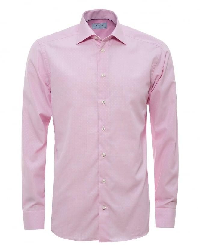 Eton shirts mens all over micro square print pink shirt for Mens pink shirts uk