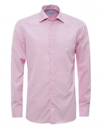 Mens All Over Micro Square Print Pink Shirt