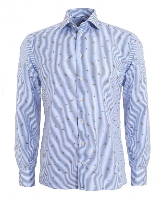 Eton shirts mens banana print slim fit blue white collar for Mens slim white shirt