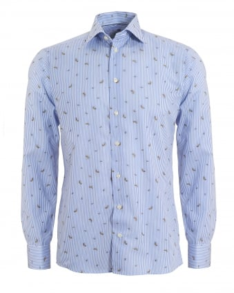 Mens Banana Print Slim Fit Blue & White Collar Shirt