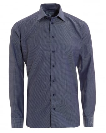 Mens Basket Weave Slim Fit Navy Blue Shirt
