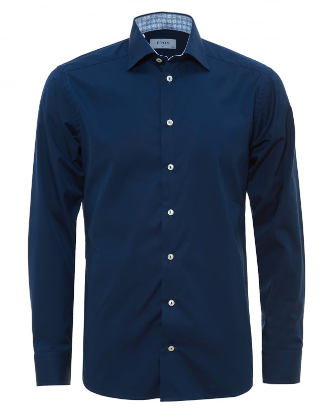 eton shirts mens contrast collar and cuff navy shirt