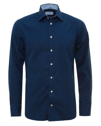 Mens Contrast Collar And Cuff Navy Shirt