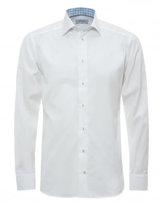 Mens Contrast Collar And Cuff White Shirt