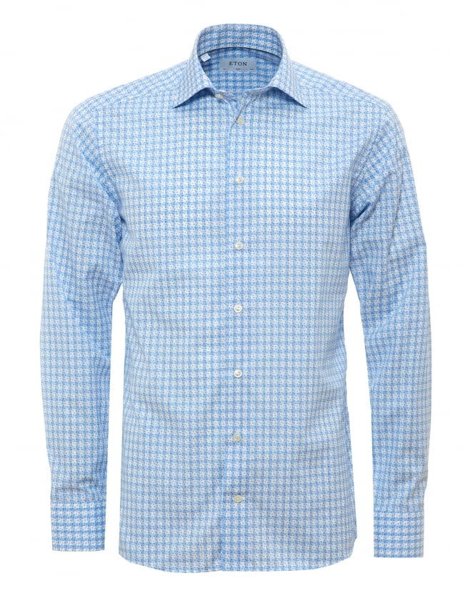 Eton Shirts Mens Dotted Woven Check Sky White Shirt