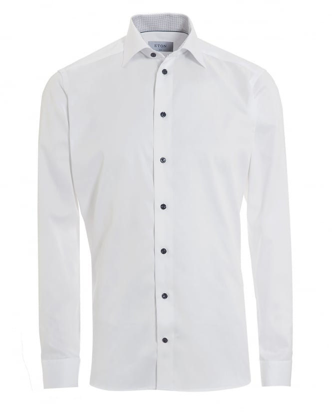 Eton Shirts Mens Inner Polka Dot Print Slim Fit White Shirt