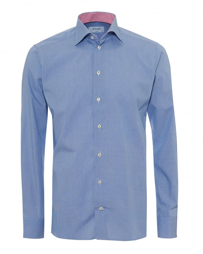 Eton Shirts Mens Micro Check Contrast Inner Slim Fit Blue Shirt