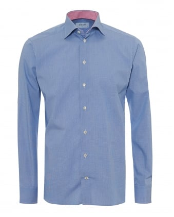 Mens Micro Check Contrast Inner Slim Fit Blue Shirt