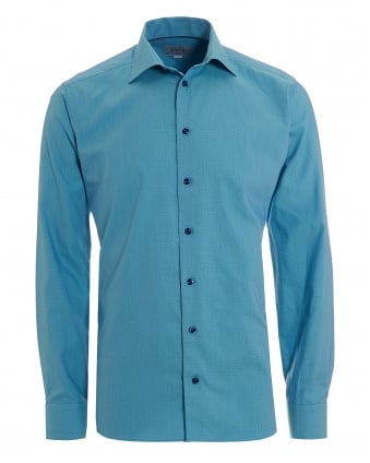 Mens Micro Honeycomb Print Slim Fit Aqua Blue Shirt
