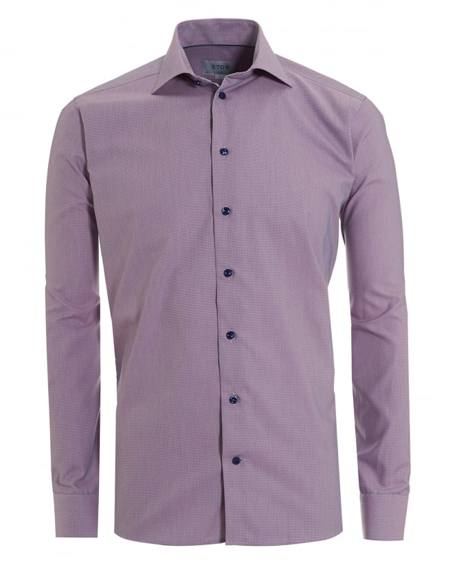 Eton Shirts Mens Micro Honeycomb Print Slim Fit Pink Shirt