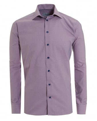 Mens Micro Honeycomb Print Slim Fit Pink Shirt