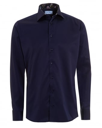 Mens Patterned Trim Slim Fit Navy Blue Shirt