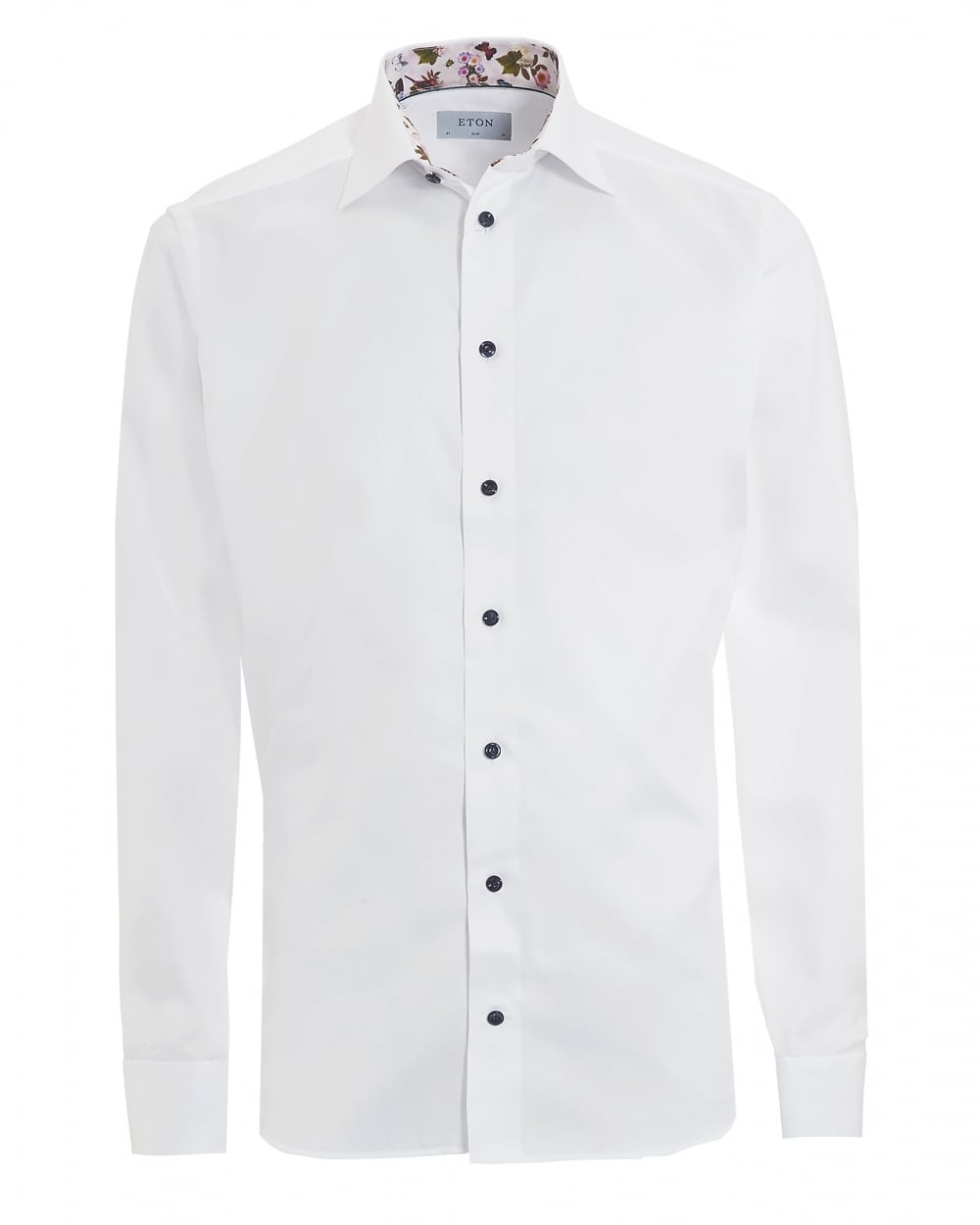Eton Shirts Mens Patterned Trim Slim Fit White Shirt