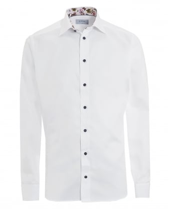 Mens Patterned Trim Slim Fit White Shirt